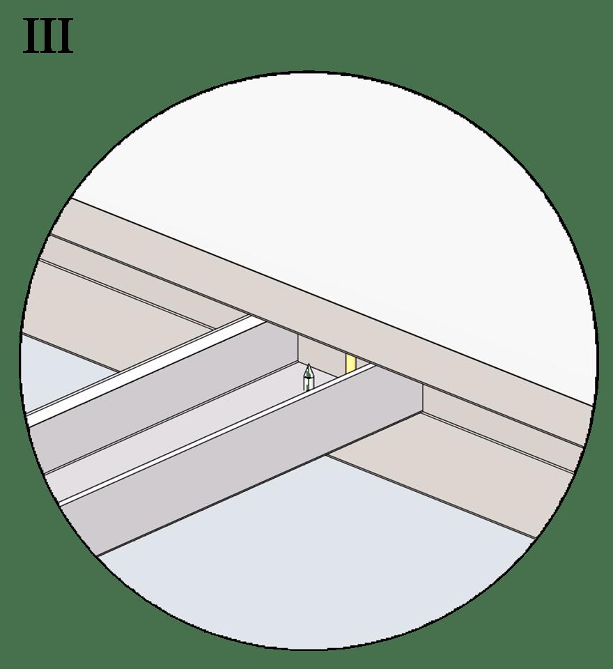 Nedpendlat undertak med Gyproc GK system i en nivå - Montering av bärprofiler