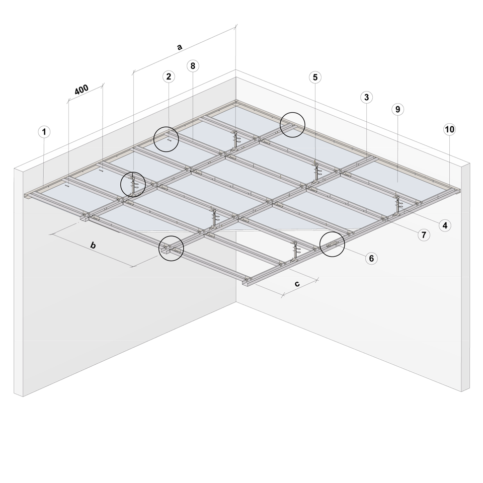 Nedpendlat undertak Gyproc GK system i en nivå Steg 1