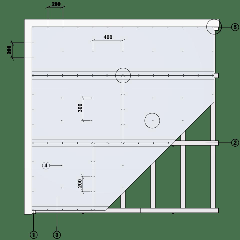 Nedpendlat undertak Gyproc GK system i en nivå Steg 2