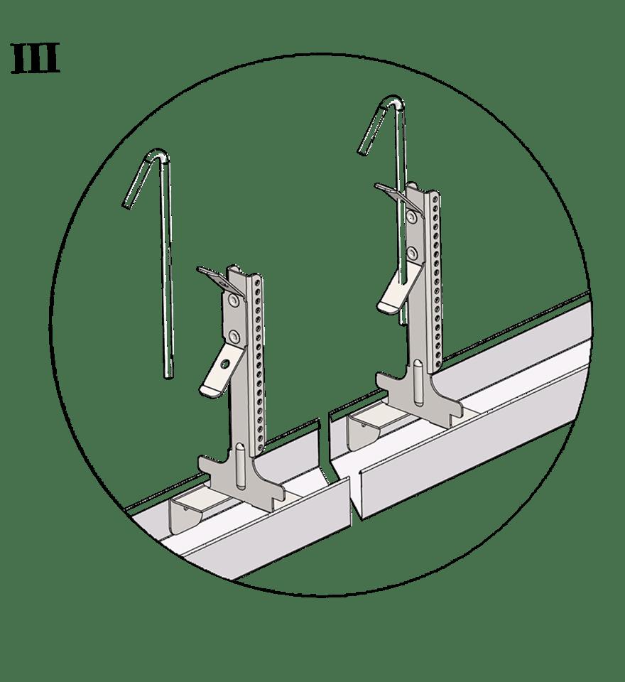 Nedpendlat undertak med Gyproc GK system i en nivå - GK 26-25 Justerbar upphängning bas och GK 25 Upphängartråd