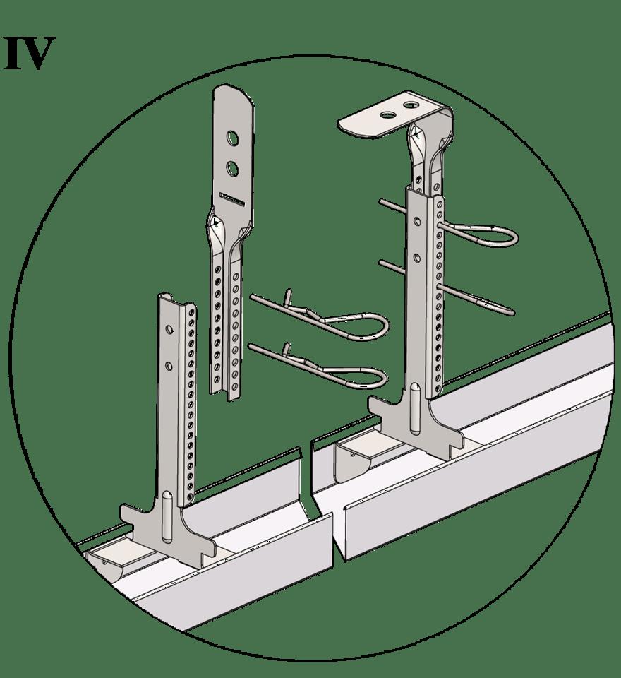 Nedpendlat undertak med Gyproc GK system i en nivå - GK 26-27 Justerbar upphängning bas, GK 27 Justerbar upphängning topp och GK 29 Fjädersprint