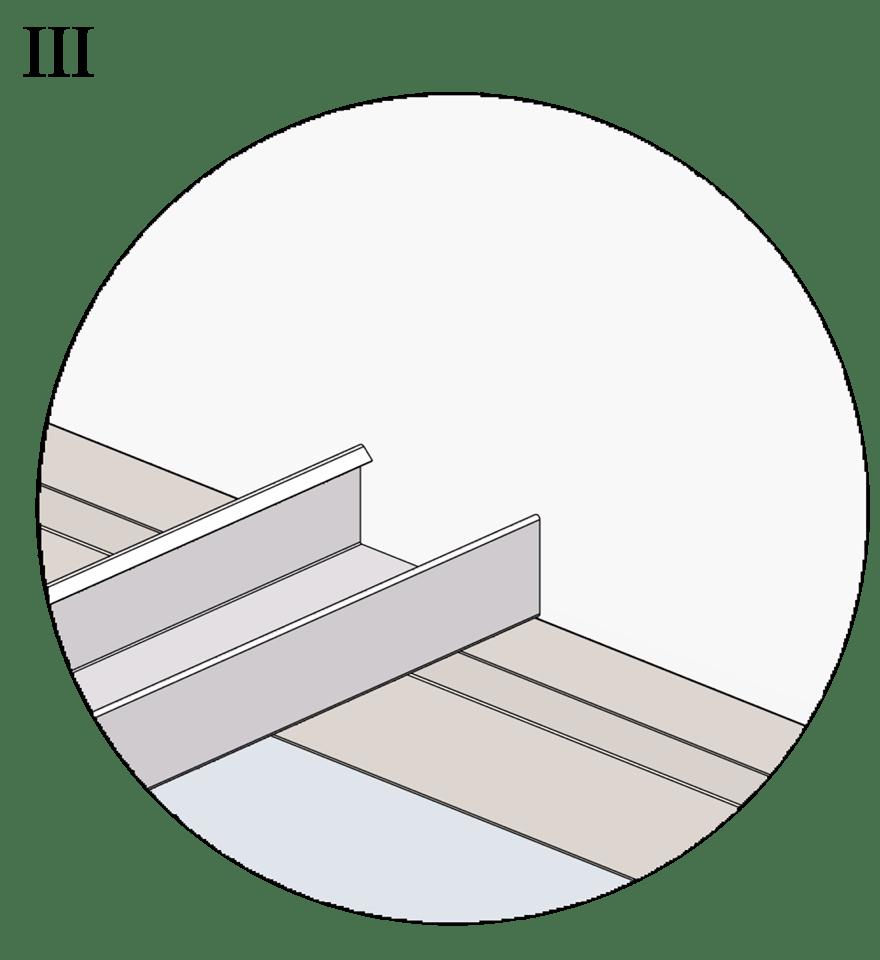 Nedpendlat undertak med Gyproc GK system i två nivåer - Montering av bärprofiler