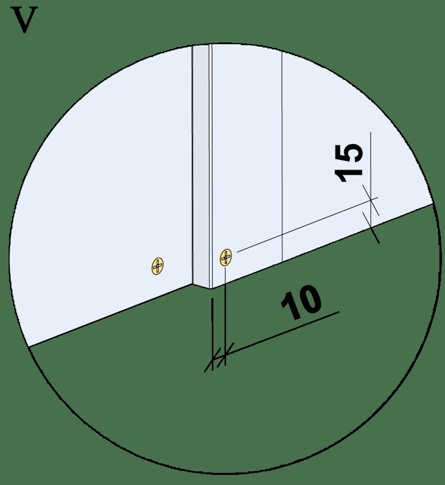 Innerväggar med Gyproc DUROnomic förstärkningsreglar c 450 - Montering av skruvar, kantavstånd