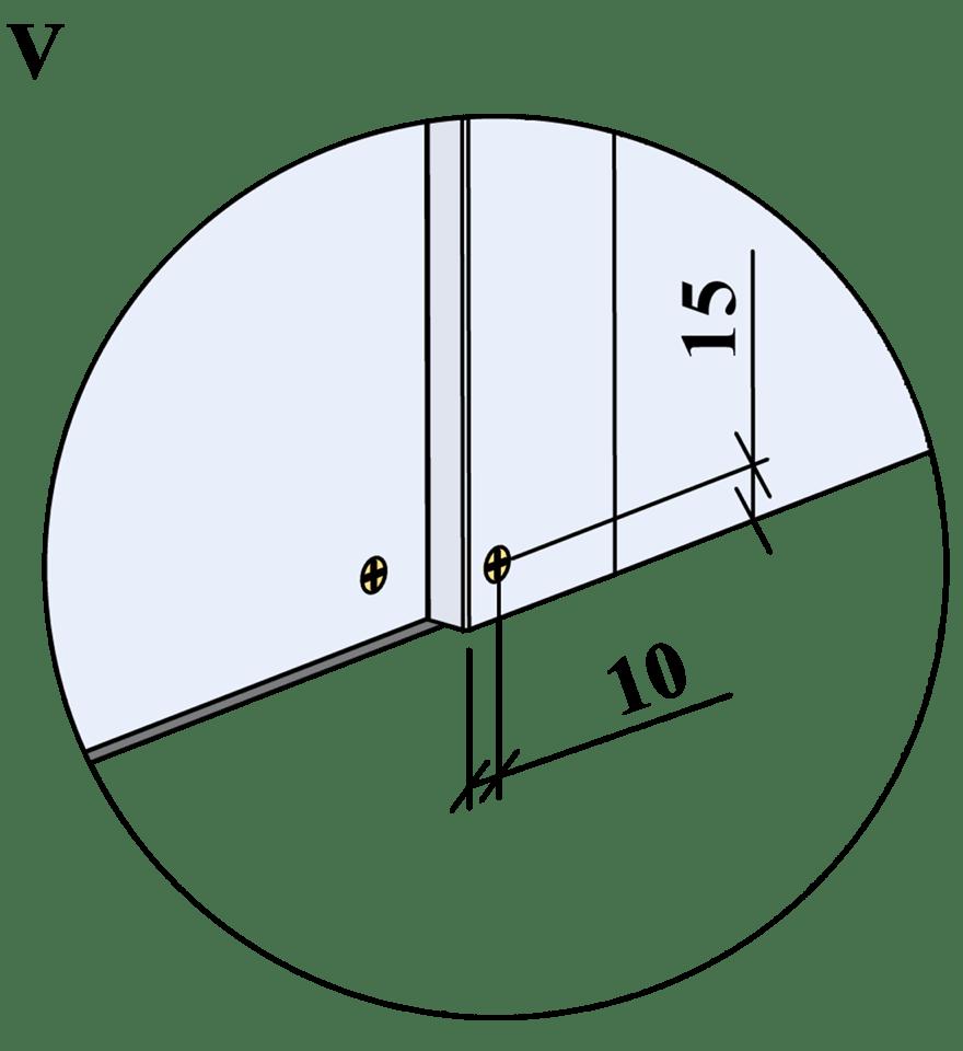 Innerväggar med Gyproc standardstålstomme c 450 - Montering av skruvar, kantavstånd