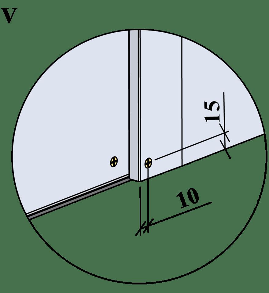 Innerväggar med Gyproc standardstålstomme c 600 - Montering av skruvar, kantavstånd