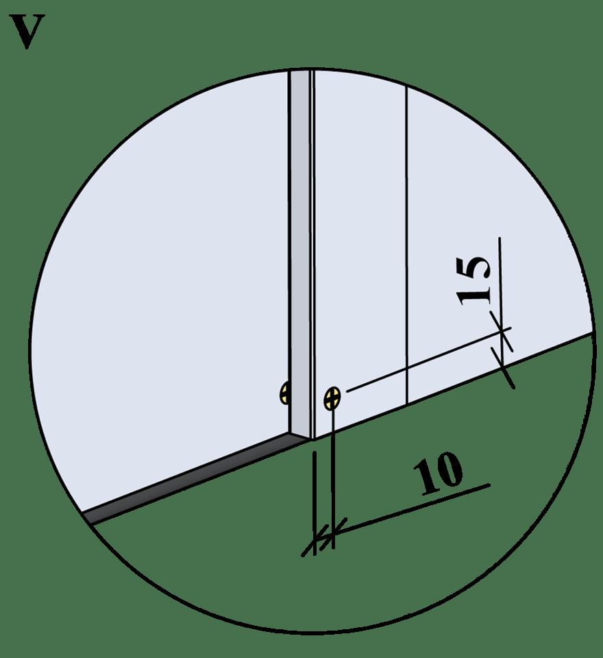 Gyproc XR innerväggar med hög ljudreduktion, c 600 - Montering av skruvar, kantavstånd