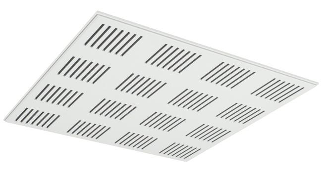 Demonterbar undertaksplatta med rektangulära hål - Gyptone Tile Line 4 med kant E15