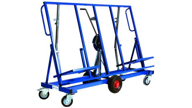 Vagn för att transportera gipsskivor. Kan även användas som arbetsbord vid montering av gipsskivor