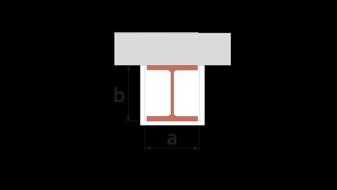 Balk som bär betongbjälklag 3-sidigt inklädd med upplagsskivor av Glasroc F FireCase
