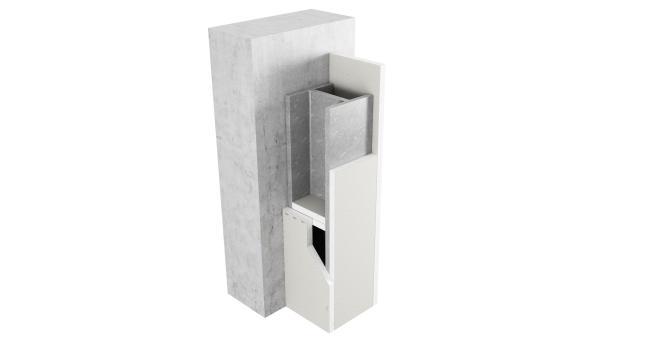 3-sidigt inklädd pelare med upplagsskivor av Glasroc F FireCase