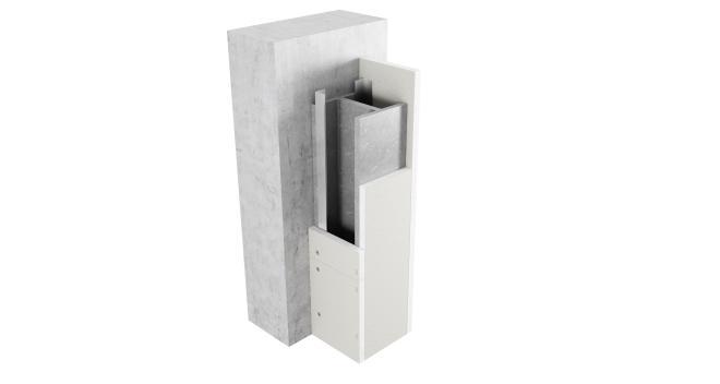Brandskydd av pelare, 3-sidigt inklädd med Glasroc F FireCase