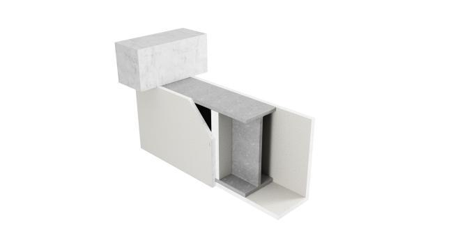 3-sidigt inklädd balk med upplagsskivor av Glasroc F FireCase