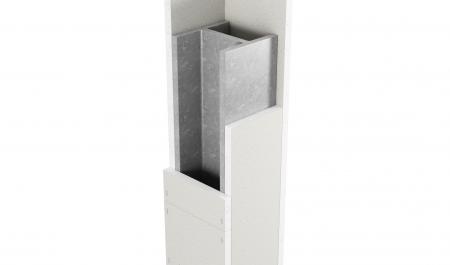 4-sidig inklädnad av stålpelare med Glasroc F FireCase
