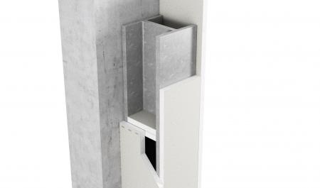 3-sidig inklädnad av pelare och balkar med upplagsskivor av Glasroc F FireCase