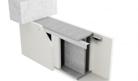 3-sidig inklädnad av stålbalkar med hörnprofil med Glasroc F FireCase