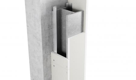 3-sidig inklädnad av stålpelare med Glasroc F FireCase