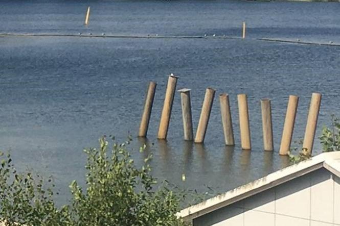Reparationer av hamnen i Bålsta