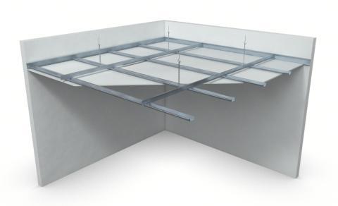Nedpendlat undertak med Gyproc Primär/Sekundär-stålprofiler