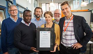 Lindqvist Bygg vid ceremonin Gyproc Certifierat objekt NKS fas 6