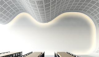 Akustikundertak som gör det möjligt att skapa arkitektoniskt spännande uttryck i rummet