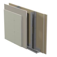 Standard innerväggar på stålstomme Gyproc GS c 450 med Gyproc ErgoLite