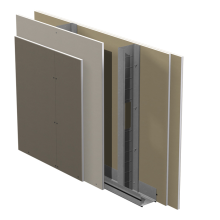 Standard innerväggar på stålstomme Gyproc GS c 450 med Gyproc Protect F